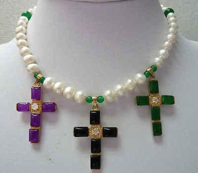 Gorąca sprzedaż darmowa wysyłka>>>>>/biały perłowy fioletowy/zielony kamień czarny agat krzyż naszyjnik