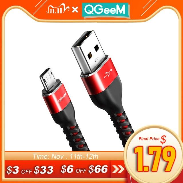 Qgeemマイクロusbケーブル2.4Aナイロン高速充電usbデータケーブルサムスンxiaomi lgタブレットandroid携帯電話usb充電ケーブル