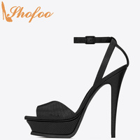 Black Platform Stilettos Sandals Luxury Gladiator Rome Shoes Women Large Size 13 16 Ladies High Heels Dress Ankle Strap Shofoo