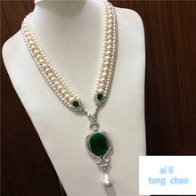 Ручной завязанный белый натуральный пресноводный жемчуг роскошный многослойный свитер цепи ожерелье Модные ювелирные изделия