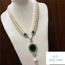 Mão atada branco natural pérola de água doce luxo multicamadas camisola corrente colar moda jóias