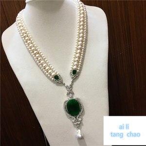 Image 1 - Mão atada branco natural pérola de água doce luxo multicamadas camisola corrente colar moda jóias