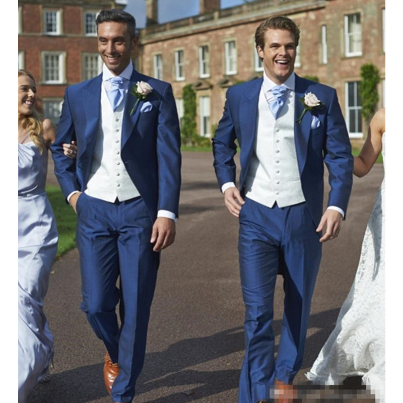 5 Custom Made Blue Wedding Groom Slim Fit Blue Mens Suit Wedding Suits For Men Costume Homme Floral Blazer