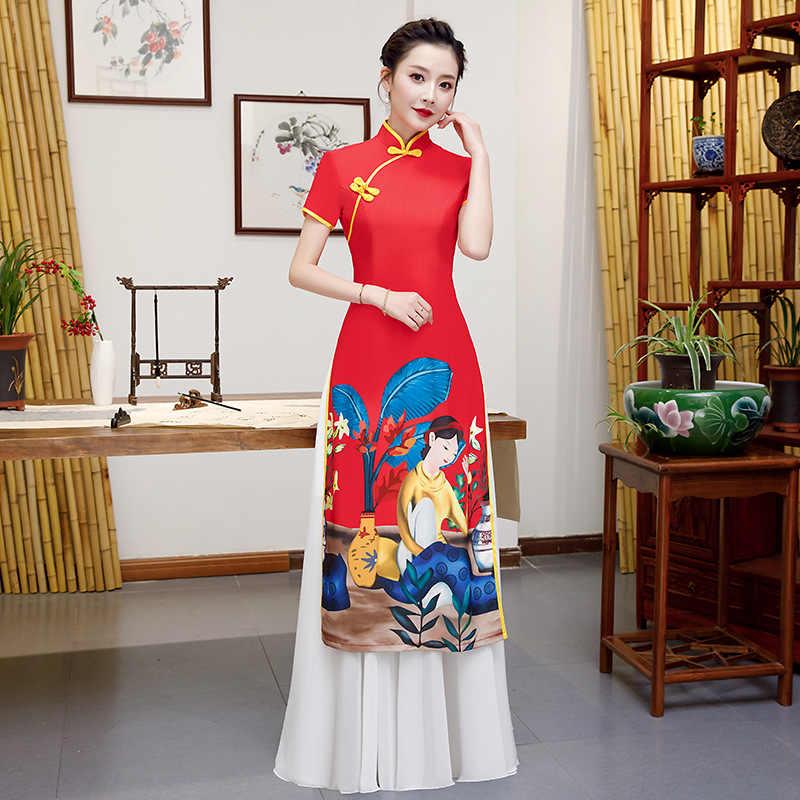 Kırmızı AO Dai akşam Cheongsam gelin parti elbise bayan kat uzunlukta asil zarif uzun Qipao gelinlik giysileri Vestido S-5XL