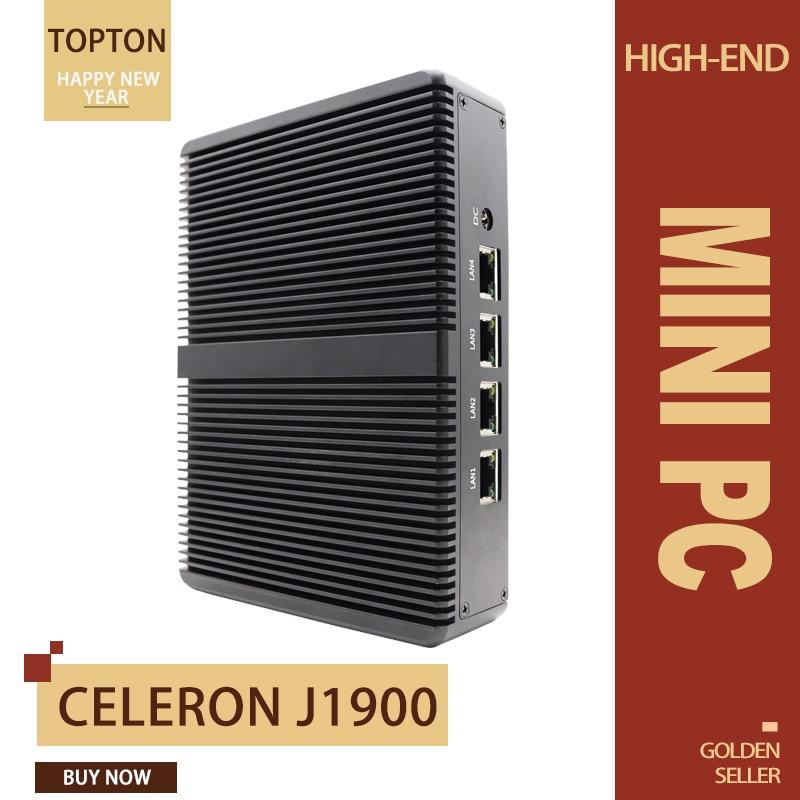 Topton Fanless Pfsense Mini PC Intel Celeron J1900 4* Lan 1*RJ45 Firewall Router 24 Hours Works USB 3.0 VGA With VESA Bracket