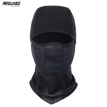 ARSUXEO Winter Fleece Cycling Cap Warm Windproof Cycling Full Face Mask MTB Bike Bicycle Caps Ski Face Mask For Men Women M1