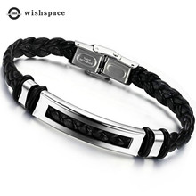 The new 2019 leather cord tothe woven mens bracelets fashionable stainless steel bracelet