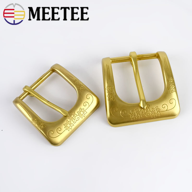 Deepeel 1pc ID40/35mm Solid Brass Belt Buckle Men Women Belt Head For Belt Metal Pin Buckles DIY Leather Craft Jeans Accessories