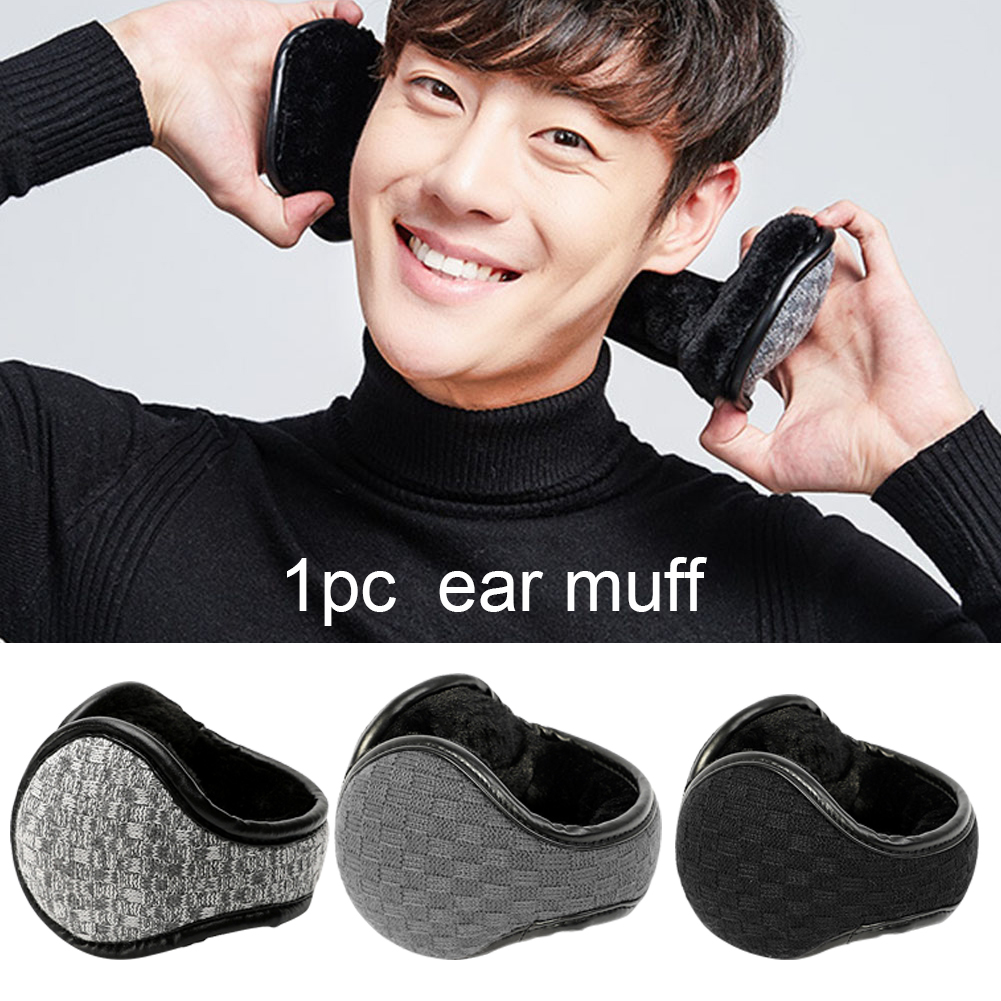 Men Outdoor Sports Winter Foldable Adjustable Cycling PU Leather Ear Muffs Travel Portable Keep Warm Hiking Windproof Protection