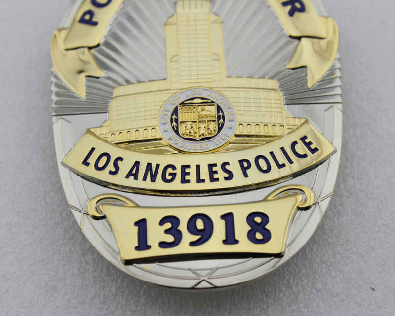 LAPD Polisi Polisi Los Angeles 13918-Replika TV/Film Prop Pin Lencana Kembali dengan Klip Sabuk Kulit pemegang dan Rantai Leher