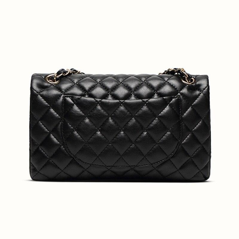 Damen Aus Echtem Leder Handtasche Mode Lässig Kette Schulter Umhängetasche Berühmte Klassische Brieftasche Marke Designer Umhängetasche