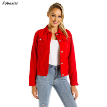 Women Basic Coats Autumn 2019 Button Short Denim Jacket Red Female Jeans Coat Casual Girls Outwear Ladies