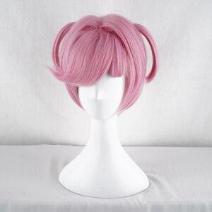 Image 3 - Doki Doki Literature Club Natsuki różowy krótki kostium kobiety żaroodporne syntetyczne włosy Party Cosplay peruki + darmowa peruka Cap