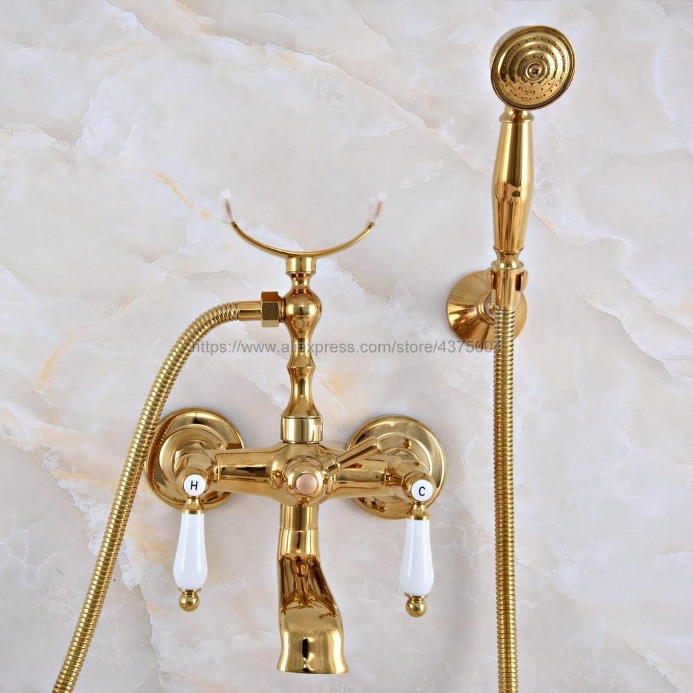 Gold Color Brass Dual Handles Brass Bathtub Faucet Set Wall Mount with Handshower Bath Shower Mixer Taps Nna901