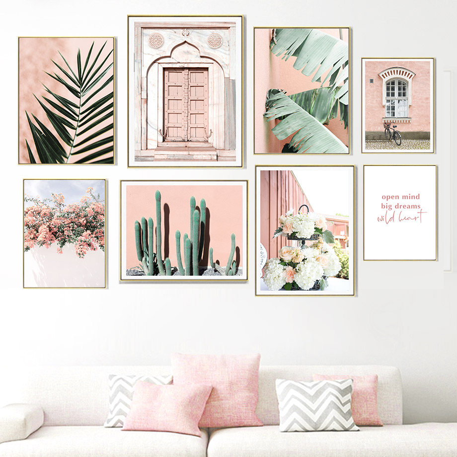 Window Door Cactus Flower Leaves Plant Wall Art Canvas Painting Nordic Posters And Prints Wall Pictures For Living Room Decor