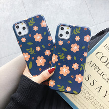 цена на Cute Flowers Soft Phone Case for Iphone 11 Pro Max Lovely Protective Back Cover Blue TPU Shell for Iphone 11