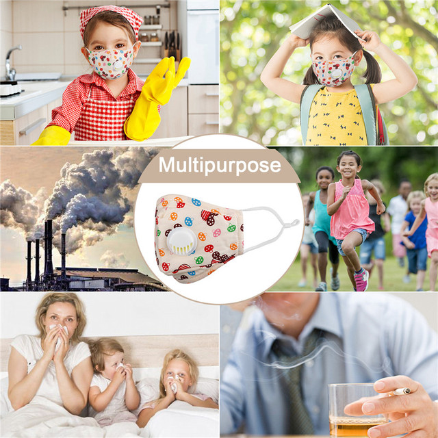 10pcs children Face Mask Reusable Washable pm2.5 Anti flu kids masks Bacteria Virus Breathable Valved Respirator Filter paper 4