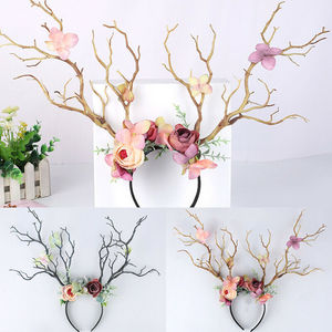 Christmas Ladies Headbands Xmas Festival Funny Gothic Branch Flower Cute Headwear Antler Costume Hairband Photo Props Girl Gifes