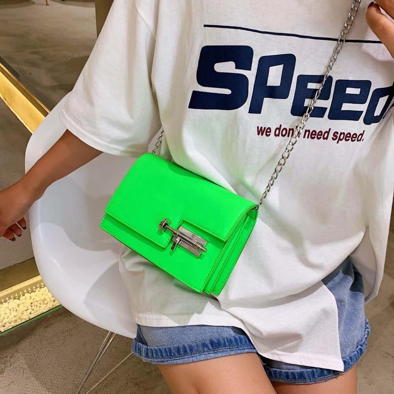 Image 3 - Модные простые сумки на цепи через плечо для женщин желтый зеленый PU кожа Сумка женская сумочка женские вечерние сумки-in Сумки с ручками from Багаж и сумки
