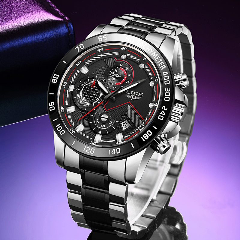 2020 LIGE New Military Sports Watches For Mens Fashion Waterproof Clock Men's Business Watch Date Quartz Watch Chronograph+Box