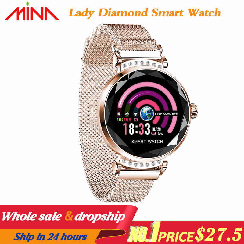 Terbaru Fashion H2 Smart Gelang Wanita 3D Diamond Glass Heart Rate Tekanan Darah Tidur Monitor Tahan Air Smart Watch