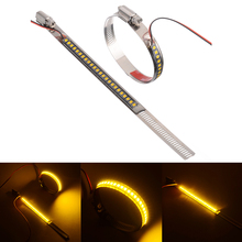 1Pair 12V LED Amber Motorcycle Fork Turn Signal Indicator Light Strip Stainless Steel Clamp IP67 Waterproof 120° For Scooter ATV