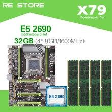 Kllisre Conjunto de placa base X79 con Xeon E5 2690 C2 4x8GB = 32GB 1600MHz DDR3 ECC REG memory ATX USB 3,0 SATA3 PCI E NVME M.2 SSD