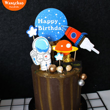Astronaut Space Man Rocket Theme Cake Toppe Boy Happy Birthday Decoration Kids Favors Party Supplies