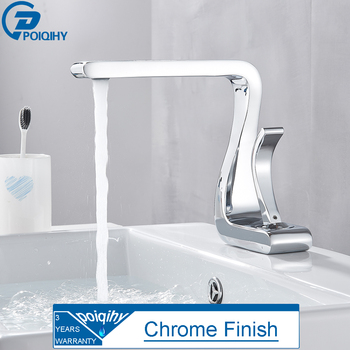 POIQIHY Chrome Basin Faucet Artistic Design Deck Mounted Bathroom Sink Water Tap Single Handle Cold Hot Basin Mixer Tap One Hole 9