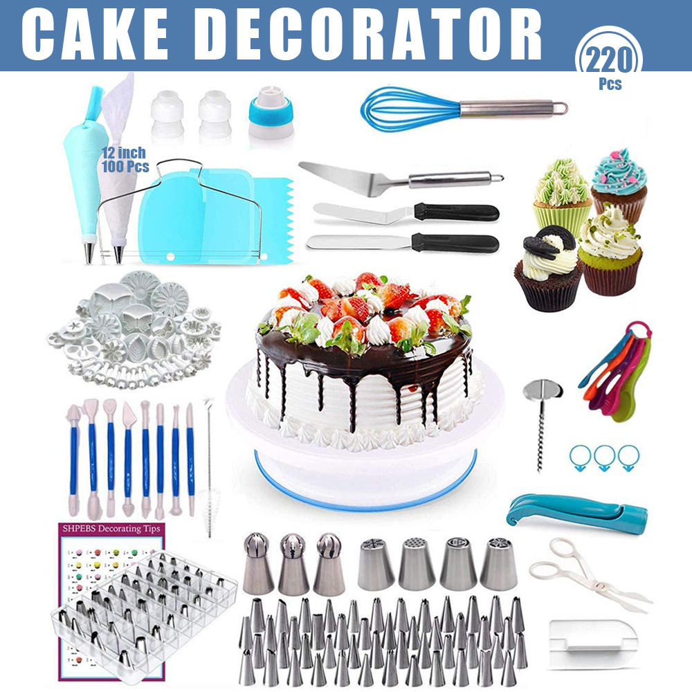 Turntable Stand Cake Decoration Tool Kit Reusable Russian Ball Icing Piping Nozzle Pastry Bag Scraper Flower Cream Tips Baking