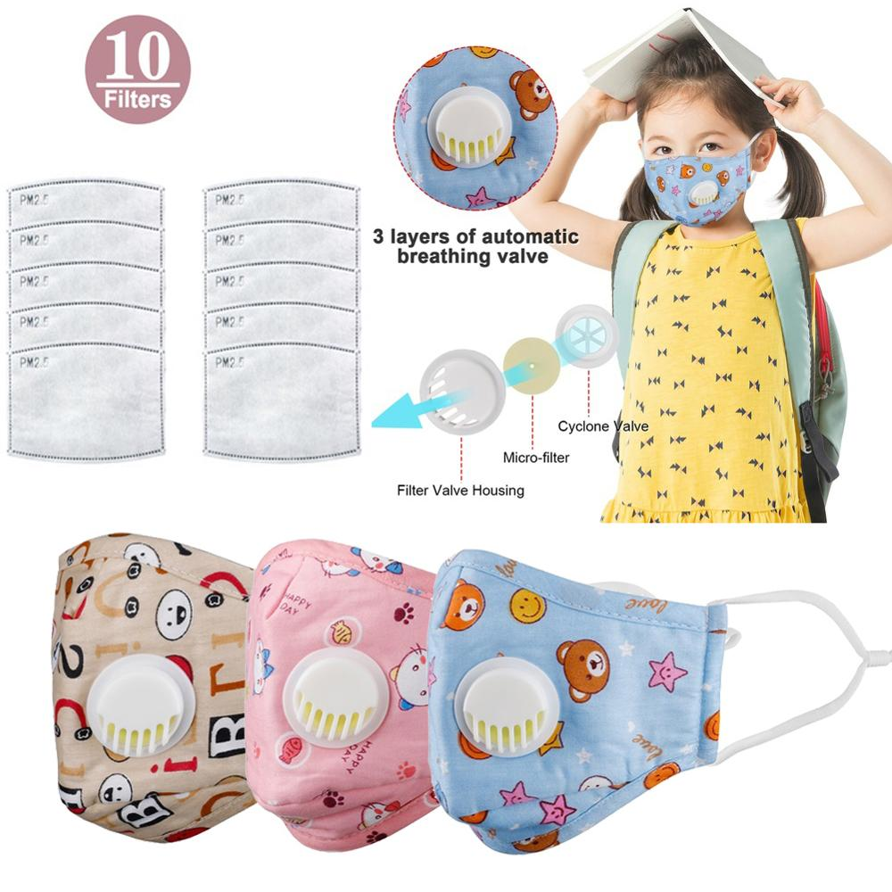 3PCS PM2.5 Boy Girl Cotton Kid Smoke Mask Children's Mouth Mask Face Mask Pollution Mask Filter Mask