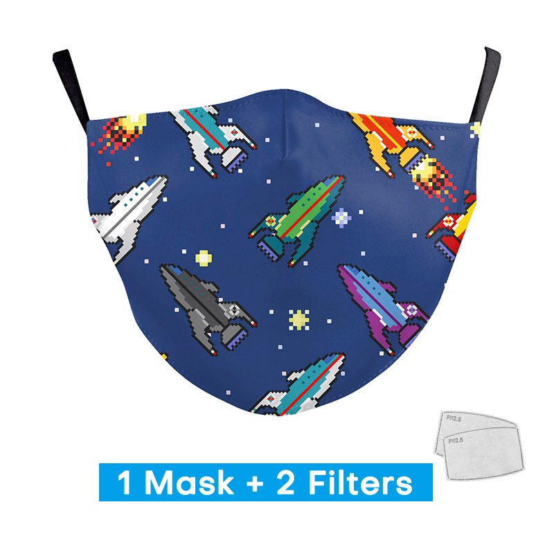 Cute Boys Rocket Cartoon Print Masks Kids Reusable Ajustable Mouth Masks With 2 Free Filters Children Protection PM2.5 Face Mask