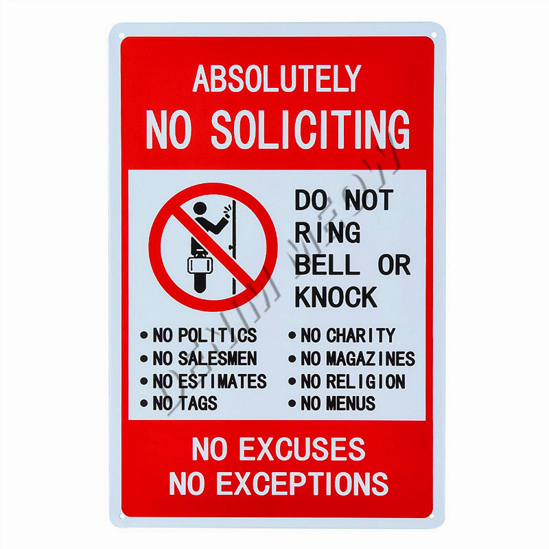 No Soliciting No Exceptions Tin Sign Metal Sign Metal Decor Wall Sign Wall Poste
