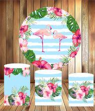 Ronde Cirkel Panel Zomer Flamingo Tropische Plant Bloem Verjaardag Dessert Tafel Decor Elastische Stof 3 Cilinder Plinths Cover