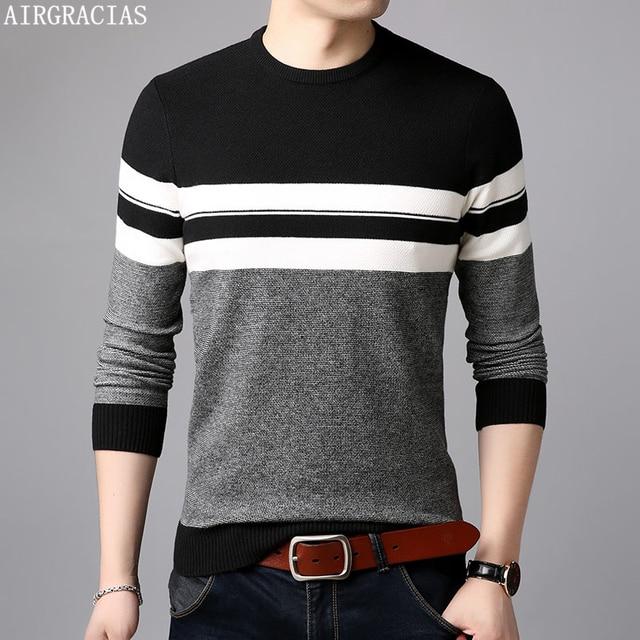 AIRGRACIAS 2019 marka Casual Men swetry z dzianiny w paski męski sweter mężczyźni sukienka grube męskie swetry Jersey odzież jesień nowy