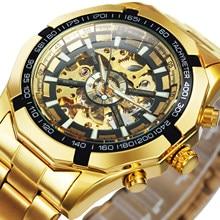 Kazanan İzle erkekler İskelet otomatik mekanik İzle altın İskelet Vintage erkek izle erkek saatler Top marka lüks часы мужские