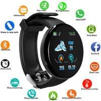 Nuevo reloj inteligente D18 para hombres, reloj inteligente redondo con Bluetooth y presión arterial, para mujer, reloj deportivo resistente al agua, WhatsApp para Android Ios