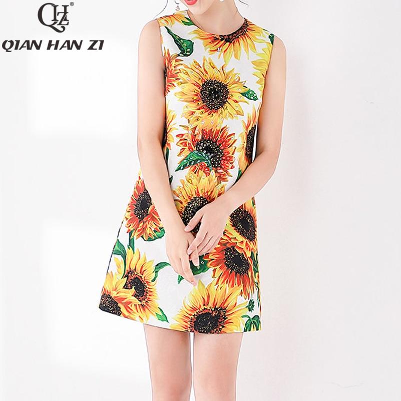 Qian Han Zi nouvelle robe imprimé tournesol 2019 été Designer piste Jacquard Sequin cristal élégant robe de réservoir
