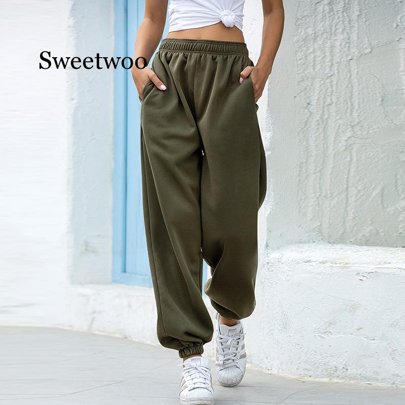 Sweatpants Women 2020 Spring Casual Loose Harem Pants Solid Fashion Hip Hop High Waist Pants Baggy Trousers Women S-XXL