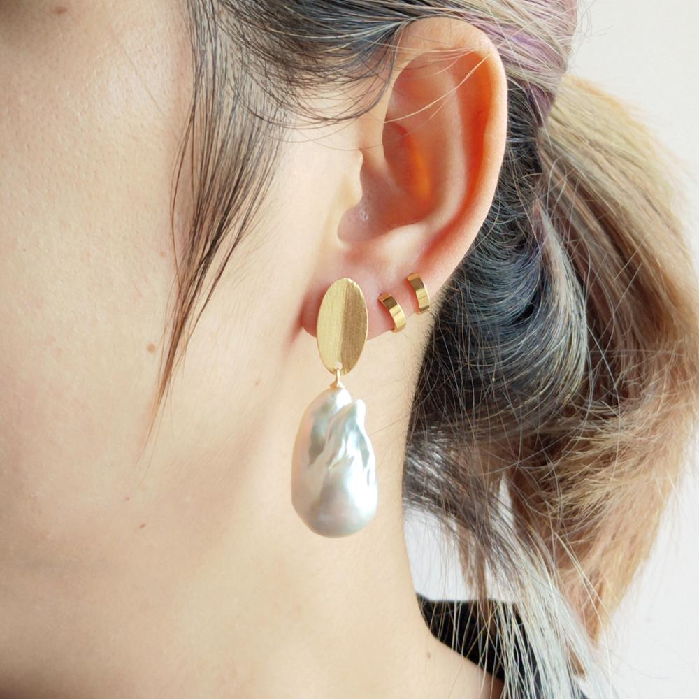 LiiJi Unique High Quality Big White Baroque Pearl Stud Earrings 925 Sterling Silver Gold Color Delicate Women Elegant Jewelry - 4