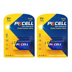 2Pack PKCELL 9V 6F22 Primary Battery 6LR61 Super Heavy Duty battery as PP3 6F22 6LR61 MN1604 9v electronic thermometer battery