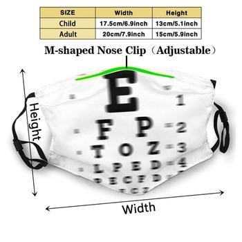 Eye Sight Chart Test Custom Design For Adult Kids Anti Dust Filter Diy Cute Print Washable Mask Optometrist Optometry 1