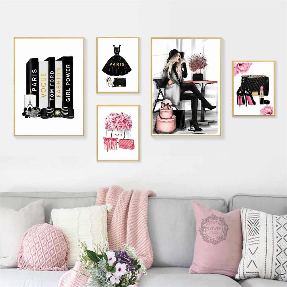Wall Art Art Prints Rose Floral parfum Lipstick Fashion Prints lot de 3