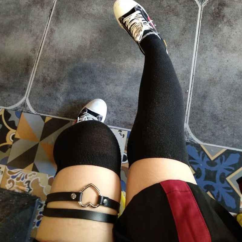 調整可能な 2 行フェイクレザーセクシーな脚太ももハーネスガーターベルトパンクゴシック中空ハート金属リングパーティー衣装