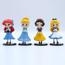 цена на 4pcs/lot Q Posket princesses figure Toys Dolls Snow White  Cinderella Ariel Mermaid PVC Figures toys 8cm Free Shipping toys