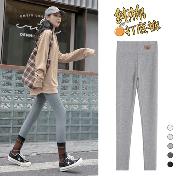 Pure cotton Leggings women wear spring and autumn grey large size high waist autumn pants summer thin Leggings nine point black image