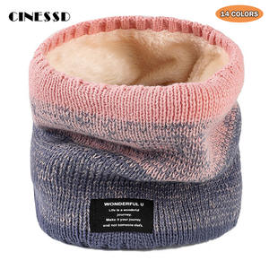 Winter Scarf Neckerchief Velvet Cashmere Knitted Warm Thick Women Men's Ring for Plus