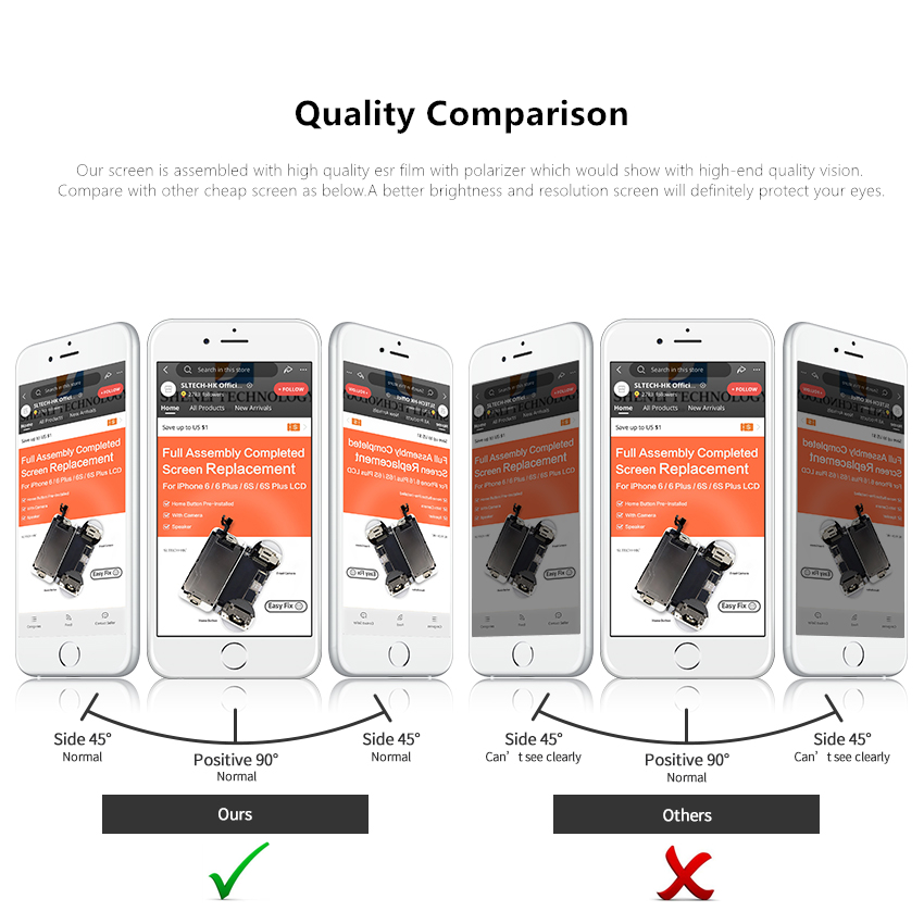 He5aa670c8ab24d4d8808829eb51e28f3b AAA+++ For iPhone 6 6S Plus LCD Full Assembly Complete 100% With 3D Force Touch For iPhone 5S 6Plus Screen Replacement Display