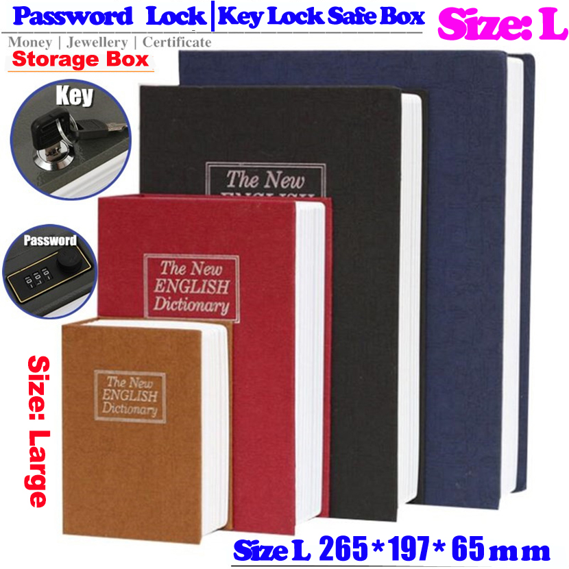 New Design Storage L Safe Box Dictionary Secret Book Piggy Bank Money Hidden Secret Security Locker Cash Jewellery With Key Lock