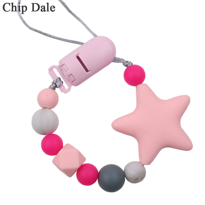 Chip Dale Star Pacifier Clips Chain Newborn Baby Teething Clip Food Grade Silicone Feeding Chain